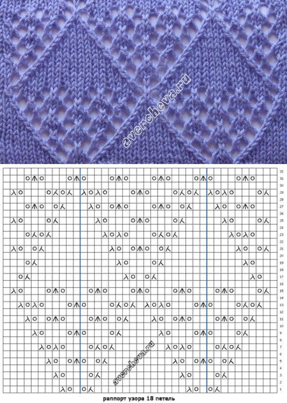 Lace diamonds knitting pattern