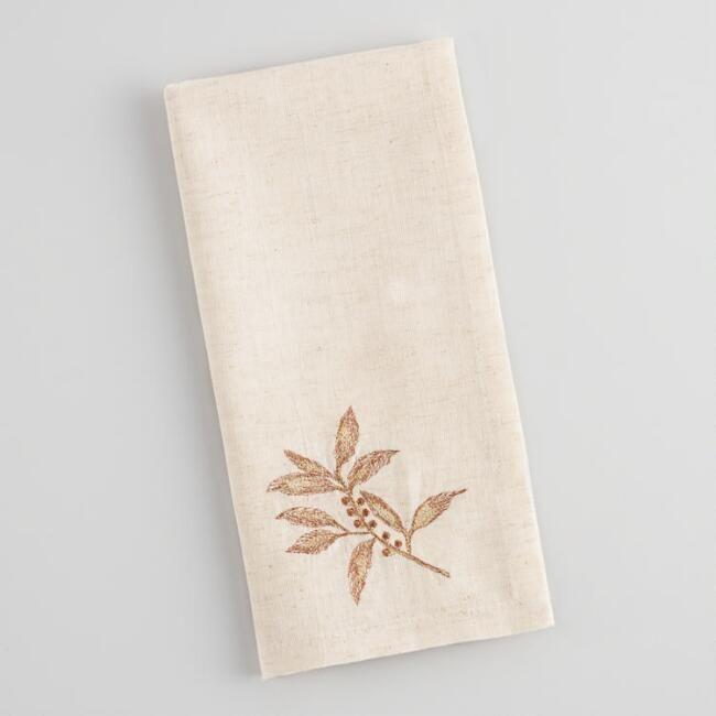 World Market Embroidered Bay Leaf Napkins Set of 4