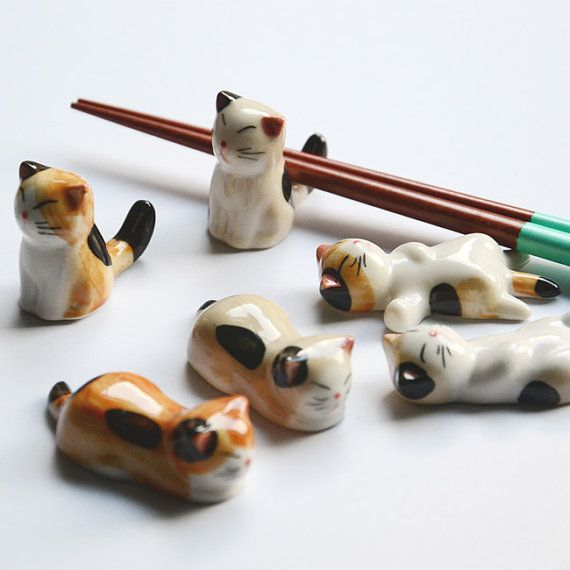 Handmade ceramic porcelain chopsticks rests cat by 2013color, $5.00