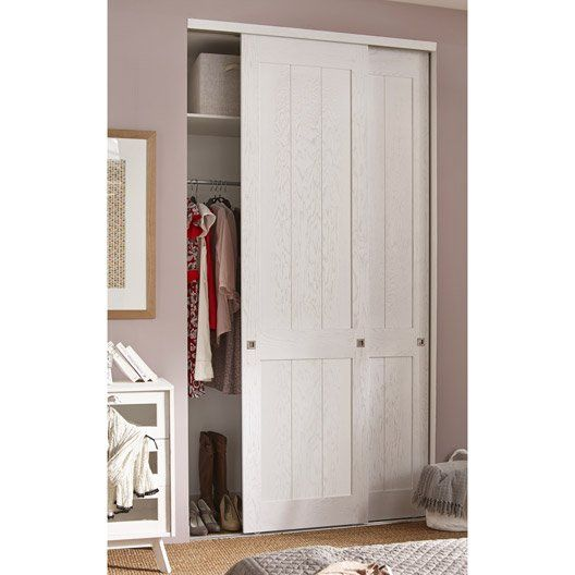 Porte de placard coulissante ch ne blanchi spaceo for Porte placard 60 cm