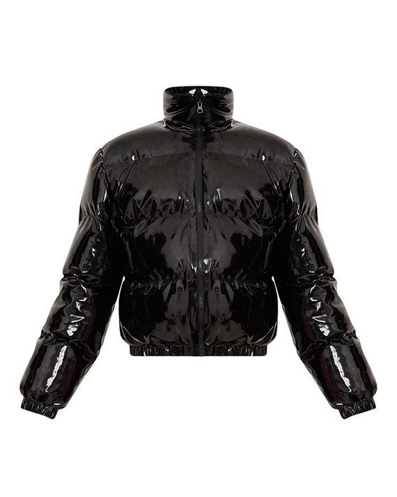 Shiny Pvc Vinyl Down Jacket Short Puffer Bomber Women