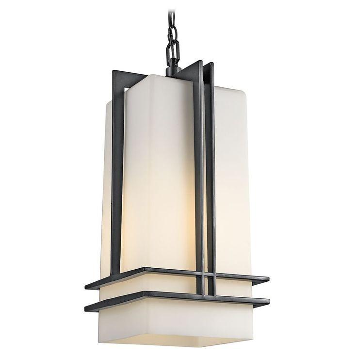 Kichler Lighting Kichler Modern Outdoor Hanging Light with White Glass in Black Finish 49205BK