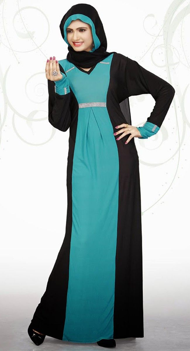 Exquisite Black And Geenish Blue Color Designer Abaya