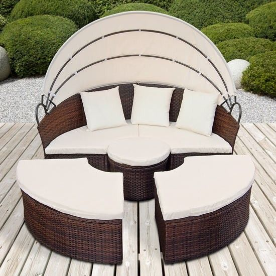 Rattan Daybed + Table Sun Canopy Lounger Garden Furniture Patio Terrace Day  Bed | EBay