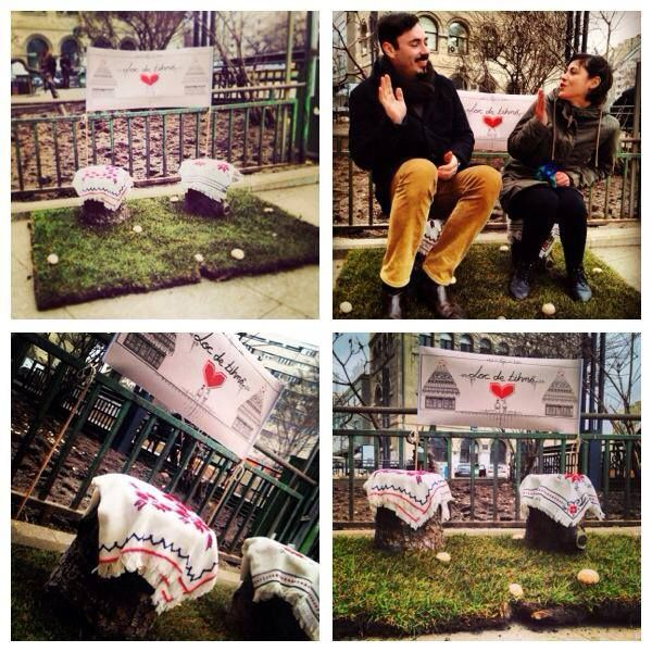 Wrestful Place (art installation designed for University Square in Bucharest - awareness for the lack of green spaces)