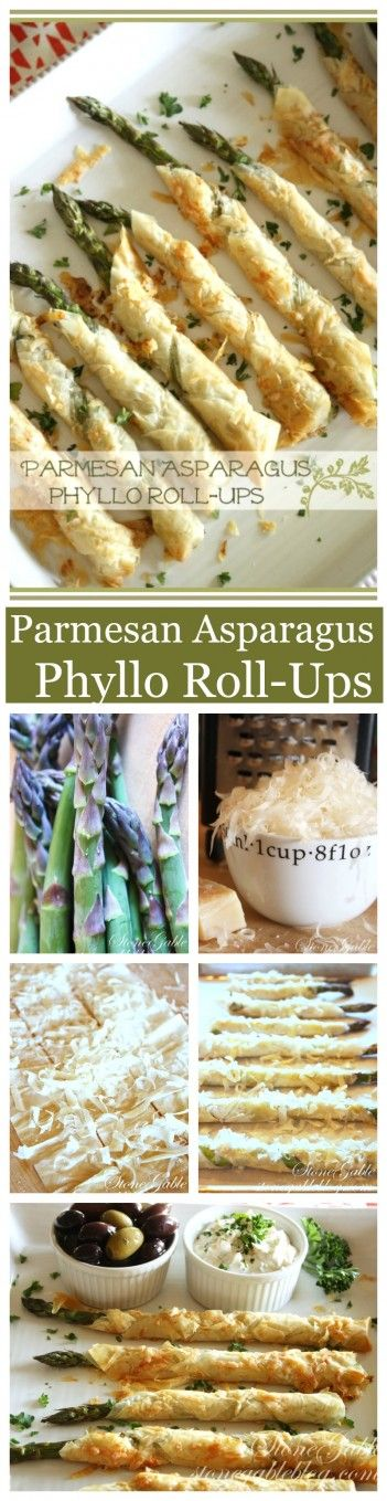 PARMESAN ASPARAGUS PHYLLO ROLL UPS- Scrumptious and easy to make. Company worthy! stonegableblog.com