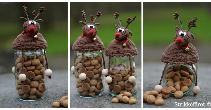 Jeg har fået lavet opskriften til endnu et hæklet låg. Mange har jo set og downloadet  SNEMANDEN  og her kommer så Rudolf. Ligesom sneman...