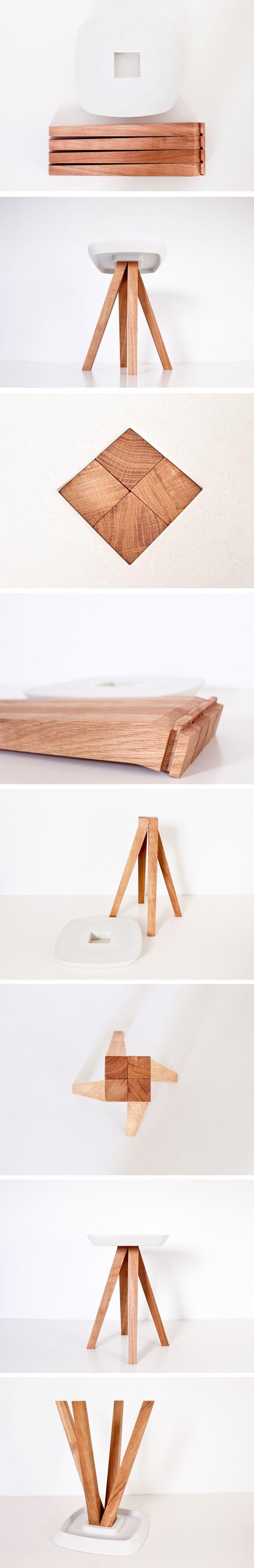 Tabouret-Ydin-inoow- bois mêlé au béton, association d'industriel et de naturel, de minéral et de végétal, de froid et de chaleur. , livré en kit et s'assemble en toute simplicité. Les pieds s'encastre/ s'emboîte sans ordre précis.  Matériaux: béton fibré, bois soit chêne ou frêne récupéré chez un fabricant d'escaliers.