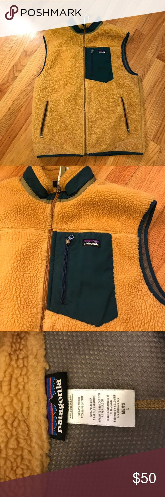 Men's Patagonia fleece best Men's fleece vest - yellow and green. Good condition. Size L. Patagonia Jackets & Coats Vests