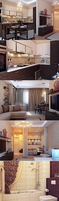 Удобная перепланировка в хрущевке - Роскошь и уют Однокомнатная квартира в хрущевке всегда кажется тесной и вызывает желание как-то расширить пространство. Предлагаем вам хороший пример дизайна однокомнатной квартиры с удобной кухней, достаточно большим санузлом, нормальным коридором, маленькой спаленкой, кабинетом и местом для отдыха. Не верите, что все это однокомнатная хрущевка? Смотрите подробный дизайн в фото и порадуйтесь за хозяев!