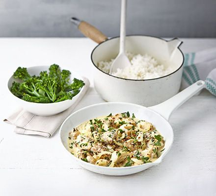 Cider, mustard & herb chicken - A simple chicken dish with a creamy parsley and thyme sauce with notes of sweet apple. Serve with rice and broccoli