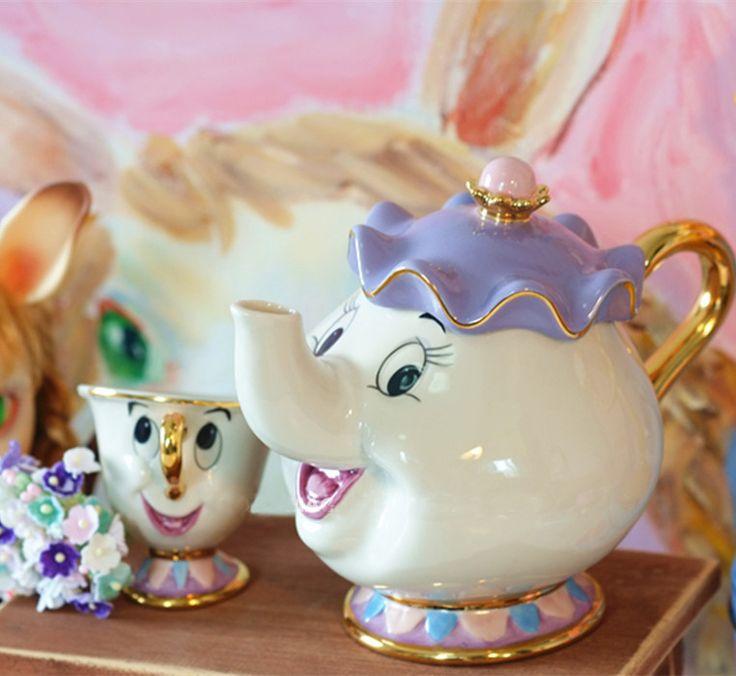A Bela Ea Fera dos desenhos animados Jogo de Chá Xícaras de Café de Porcelana Conjunto Bule caneca Mrs Potts Chip de Bule de Chá Xícara 2 PCS Um Conjunto Presente de Natal