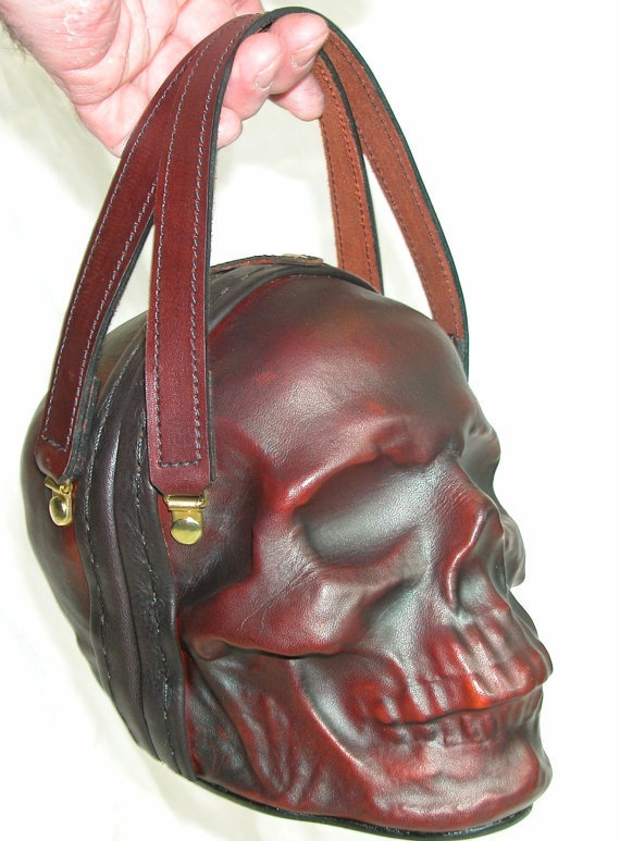Leather Skull Purse Clutch in OxBlood