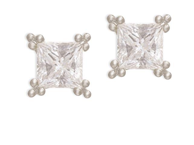 Princess cut diamond studs. Timeless Elegance