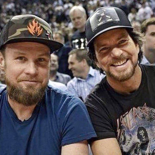 Jeff Ament and Eddie Vedder attending the Toronto Raptors playoff game, 5/11/16.