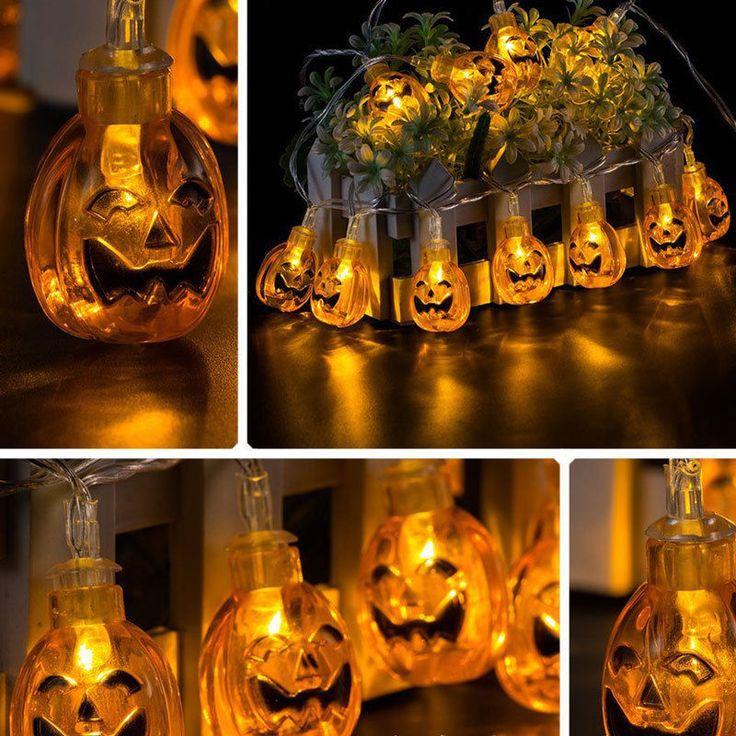 Pumpkin LED String Lights Halloween Decoration Lights Warm white Battery Powered…