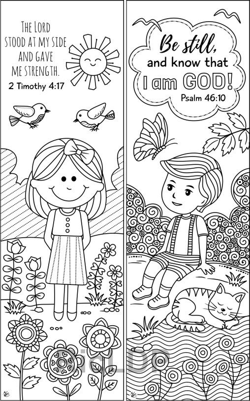 Set of 8 Bible Coloring Bookmarks Cute Christian Markers ...