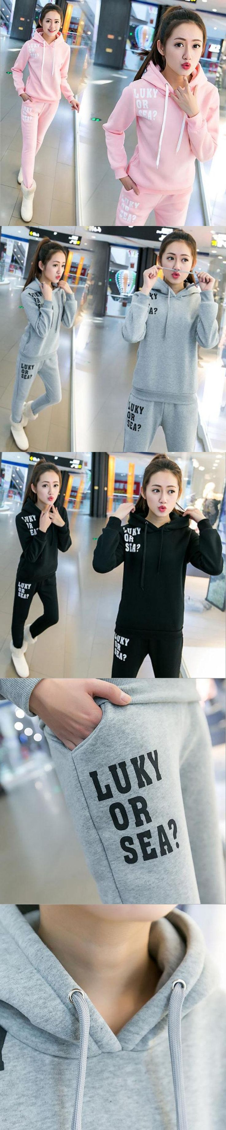 Women Clothing Sporting Sets 2016 Fashion Female Girls Clothes Girls Long-Sleeved Casual Suit Lady Sportswear