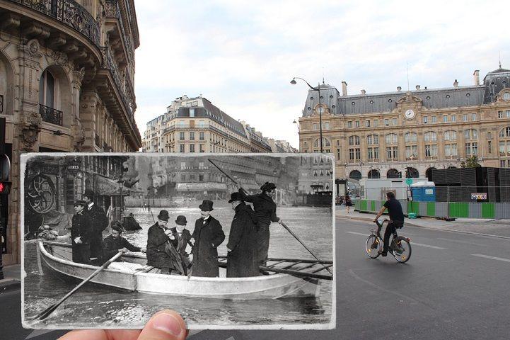 Serie de fotos Compara Las inundaciones en el día Moderno de París a gran inundación de 1910 - Mi Modern Met