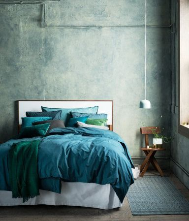 dark turquoise washed cotton duvet cover set - love it with rich emerald or mossy green | H&M US