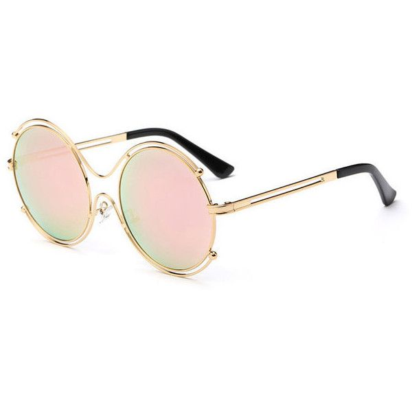 Fashion Tide Woman Hollow Double Ring Anti-UV Sunglasses Leisure... ($10) ❤ liked on Polyvore featuring accessories, eyewear, sunglasses, vintage sunglasses, metal sunglasses, metal glasses, vintage eyewear and lens glasses
