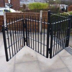 Galvanised Powder Coated Steel / Wrought Iron Bi-Folding Driveway Gate