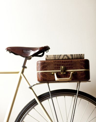 Vintage suitcase on the back of a bike.  Pat Bates - Seth Smoot