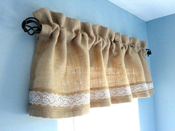 Thank you so much for visiting my store !   My 100 % Handmade with love for you !   *********************************************   This listing for one Burlap Valance. Size : 50 inches wide and 14 inches long.   Ruffled top: 2 ( added to length of 14 ).   Rod pocket : 3    Colors may be slightly different from picture due to difference computers.    I will need 2 - 3 weeks after payment to fill your order. ---------------------------------------------------------------------------   All…