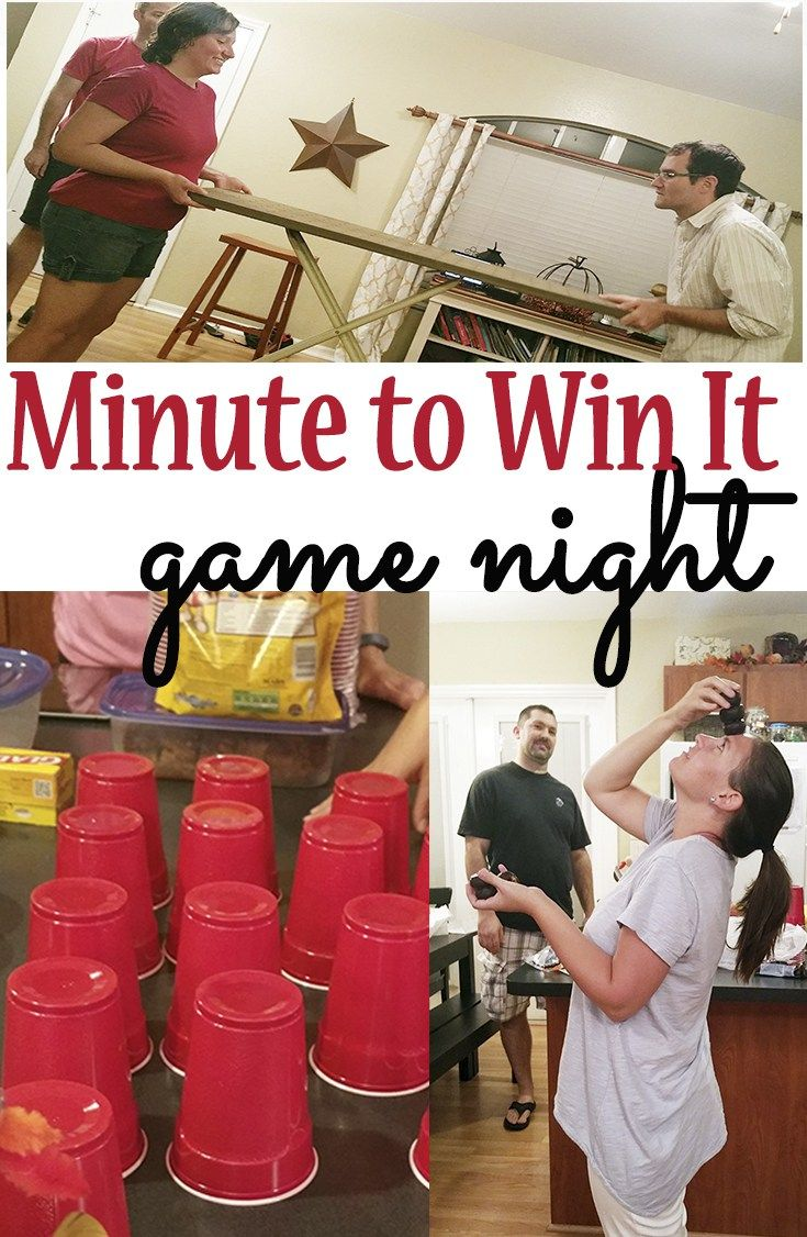 A minute to Win It Game Night idea for a kid's party or a couples party! These are a few of the minute to win it games we did! It was SO MUCH FUN!