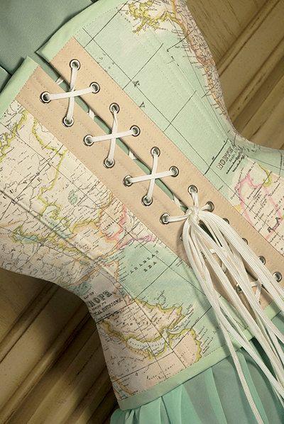 World Map Corset Underbust by RetroFolie Mint pastel by RetroFolie
