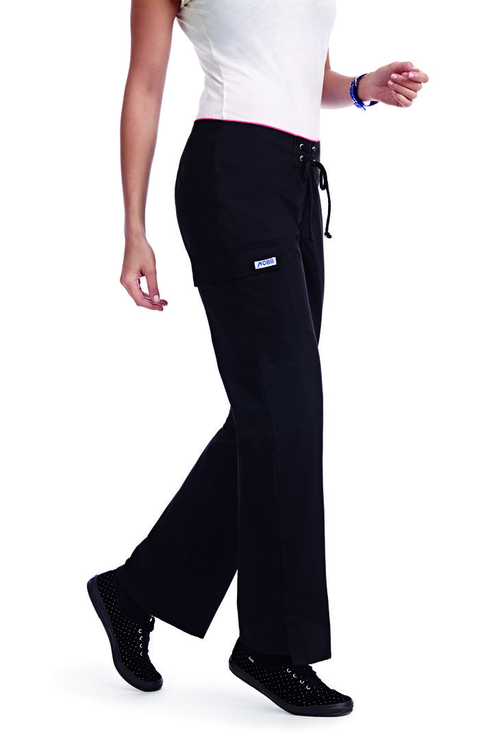 Super flattering Low Rise Lace Up Flare Pant. If you like the fit of a board short, these are the scrub pants for you. No elastic wasit, this pant features a zipper and decorative lace up closure