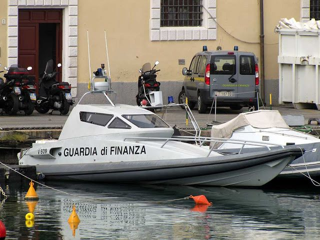 "The ""Falco"" (Hawk), of the ""Guardia di Finanza"", a fast motor boat with a top speed of 54 knots and bullet-proof glasses"