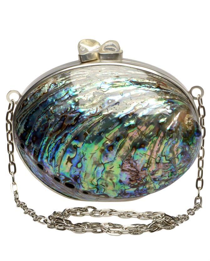 "Lilogi.com - ""Under the Sea"" week, Celestina 'Marciel Soriano' Large iridescent rainbow paua shell minaudière  $525.00"