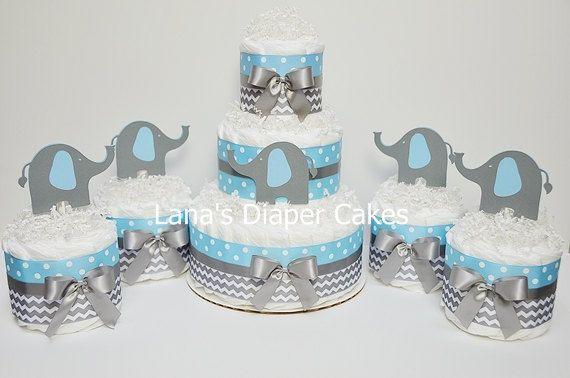 3 Tier Blue & Gray Elephant Diaper Cake Chevron Baby Shower Centerpiece