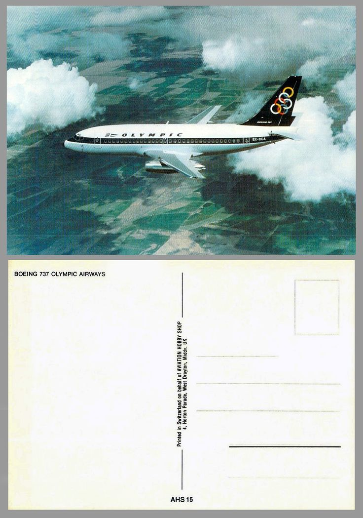 Olympic Airways airline issue postcard Boeing B737-200