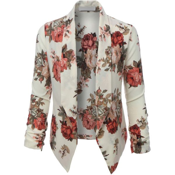 LE3NO Womens Floral 3/4 Sleeve Open Front Blazer ($21) ❤ liked on Polyvore featuring outerwear, jackets, blazers, open front blazer, white floral blazer, floral jacket, flower print blazer and floral blazer