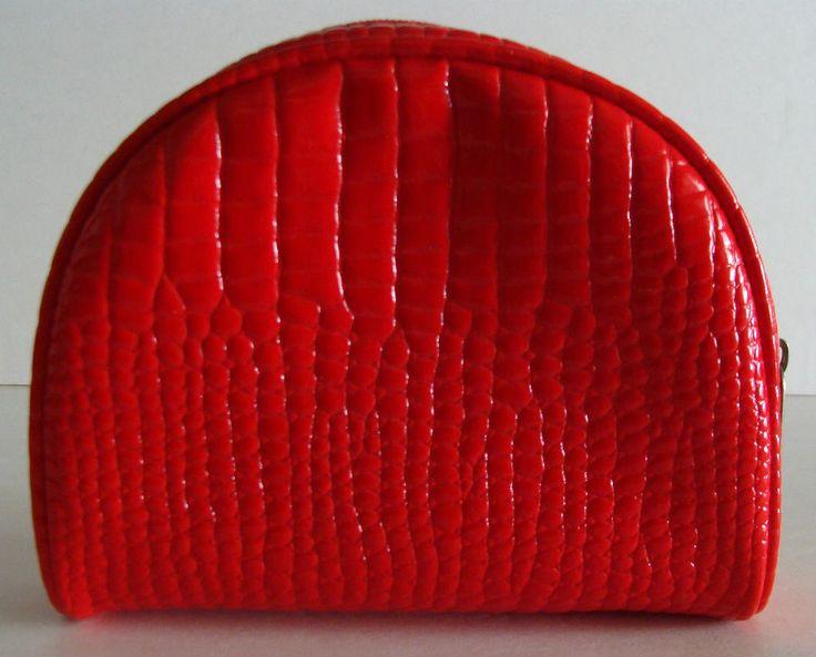 New SINGATURE CLUB A Red Animal Skin Design Cosmetic Bag Zipper  Across Top Nice