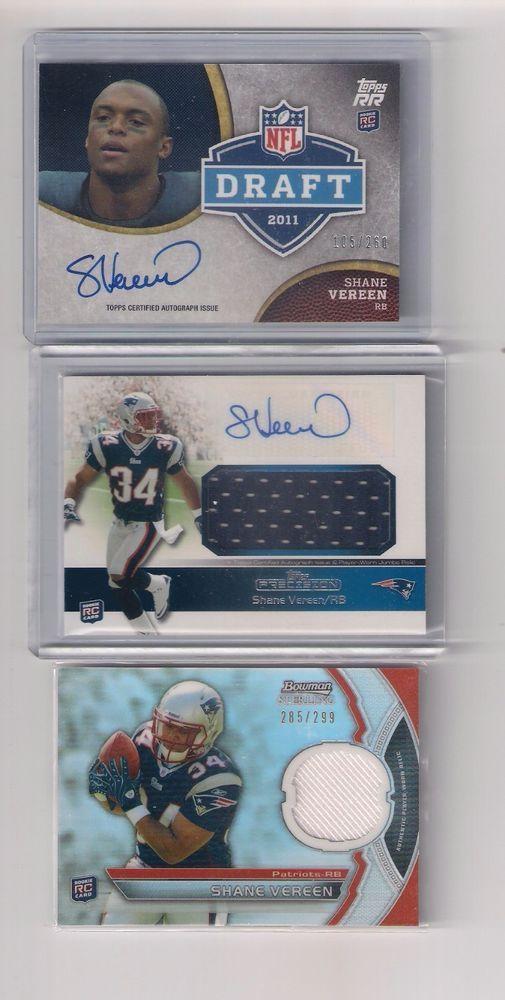 Shane Vereen Rookie Autograph Jersey SP Lot of 3,New England Patriots,Giants #NewEnglandPatriotsGiants