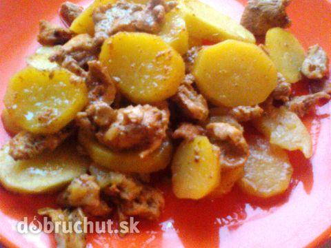 Mäso a zemiačiky na pivovom plechu