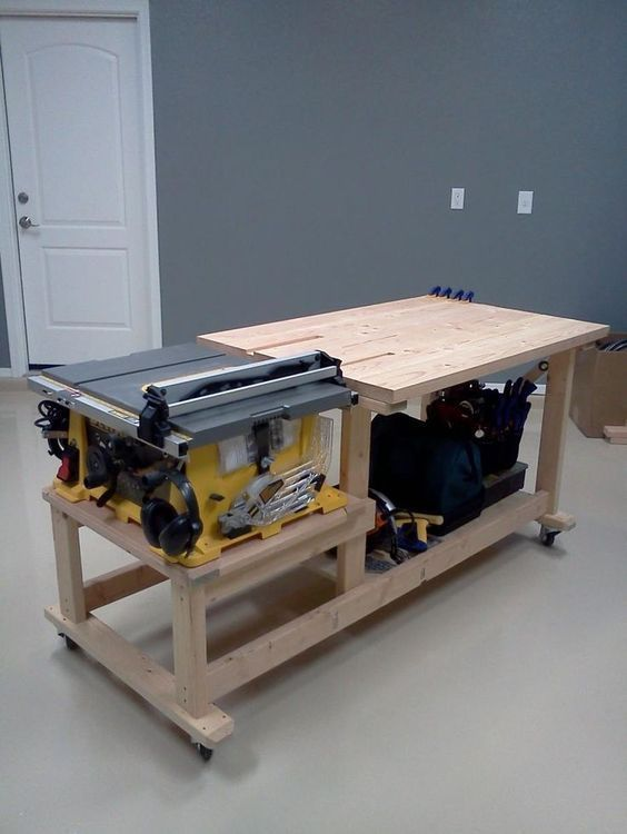 table saw workbench - Google Search: | Woodworking Shop | Pinterest #woodworkingbench #woodworkingtools
