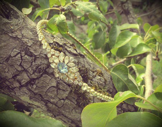 Vintage Crystal Gold Wedding Side Tiara Hair by LucyFisherDesigns