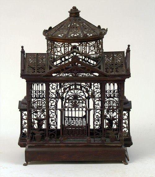 163 best birdcages vintage antique bird cage images for Cage a oiseaux decorative