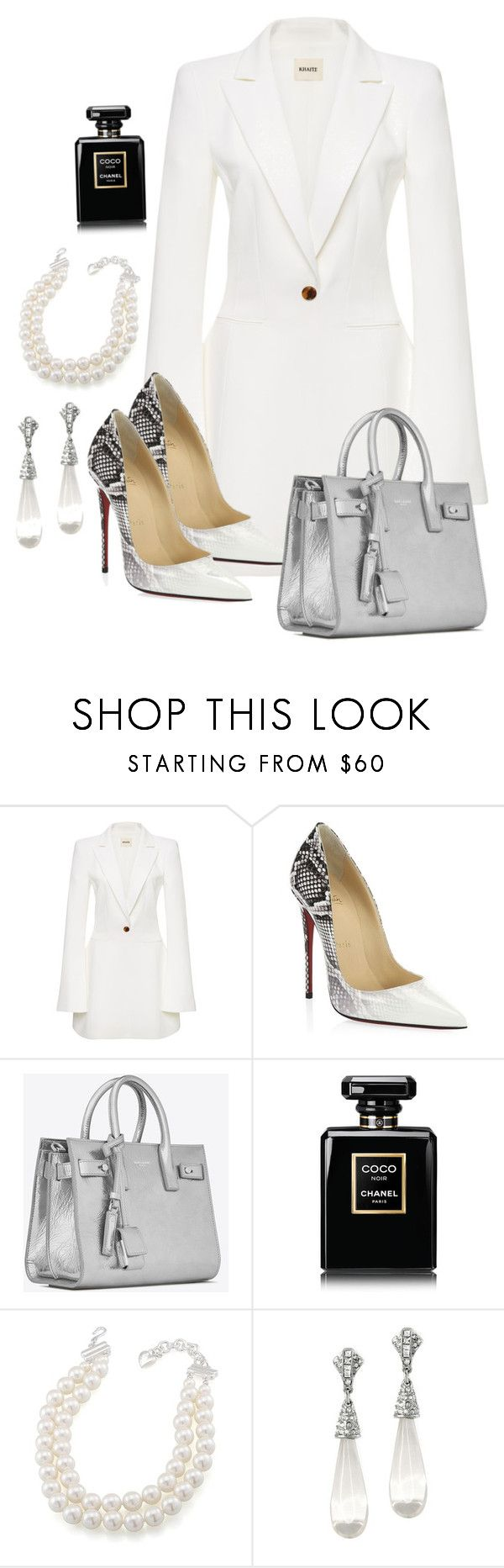 """Untitled #139"" by styledbydonita ❤ liked on Polyvore featuring Khaite, Christian Louboutin, Yves Saint Laurent, Chanel, Carolee and Kenneth Jay Lane"