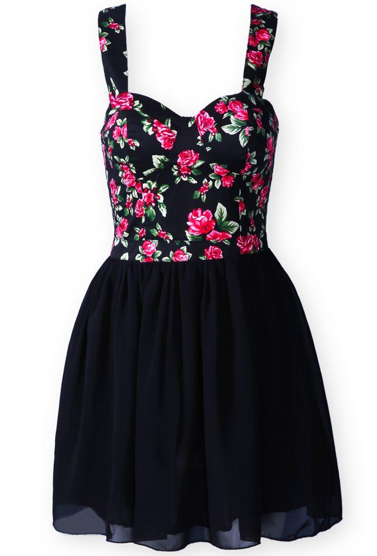 Black Spaghetti Strap Floral Chiffon Dress - Sheinside.com