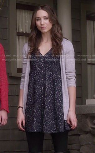 Spencer's blue floral button front dress on Pretty Little Liars.  Outfit Details: http://wornontv.net/50593/ #PLL