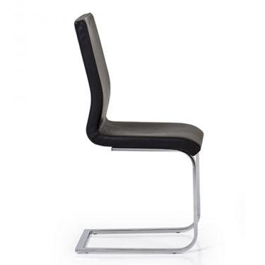 € 138,00 QUADRA-SL #sedia con base cantilever in metallo cromato e seduta imbottita e rivestita in #pelle di colore #nero 100% #MadeinItaly in #sconto 50% un #offerta #prezzo #outlet di www.chairsoutlet.com