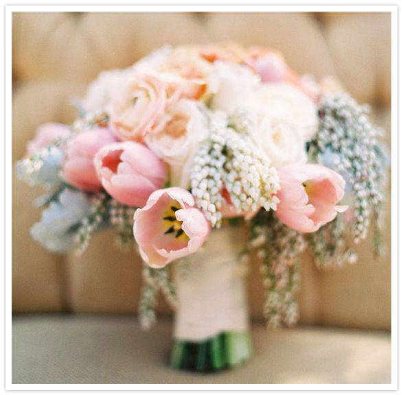 muted bouquet of lamb's ear, tulips, and-roses