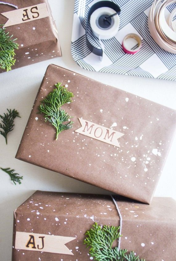 diy speckled gift wrap + wood burned gift tags