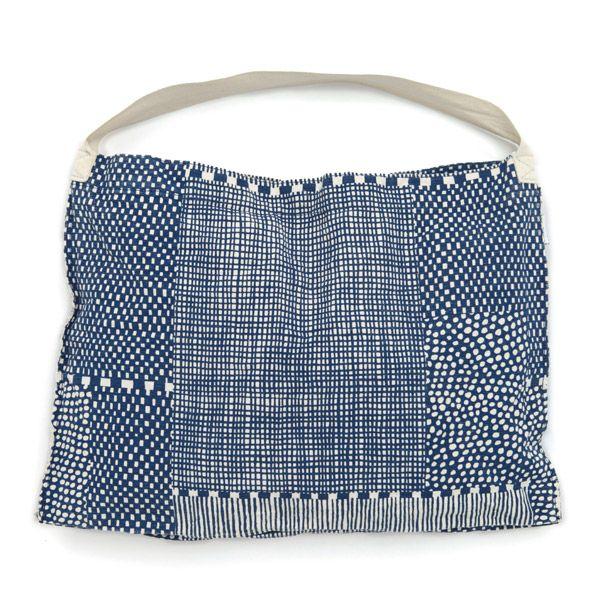 Japanese print   Blue pattern shoulder bag   小巾鞄/間がさね 生白