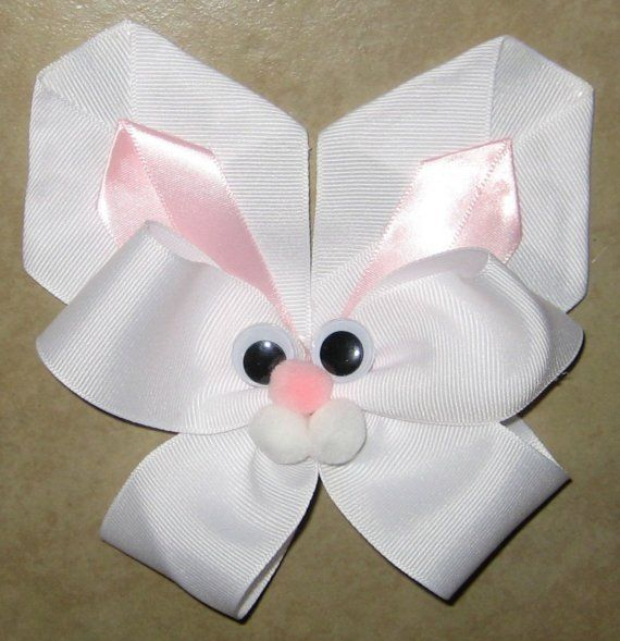 Easter Bunny Hair Bow - white and pink
